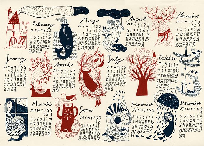 Красивые календари рисунок, для